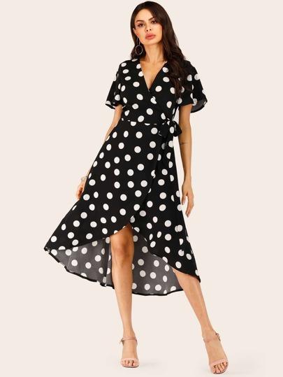 Dresses Intelligent Shein Navy Boho Wrap Front Self Belted Dip Hem Floral Summer Dress Women Deep V Neck Flounce Sleeve A Line Beach Maxi Dresses