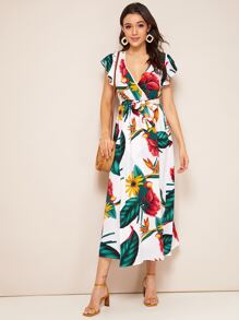 Large Floral & Tropical Print Belted Wrap Dress