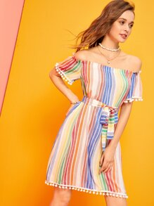 Rainbow Striped Pompom Trim Belted Dress