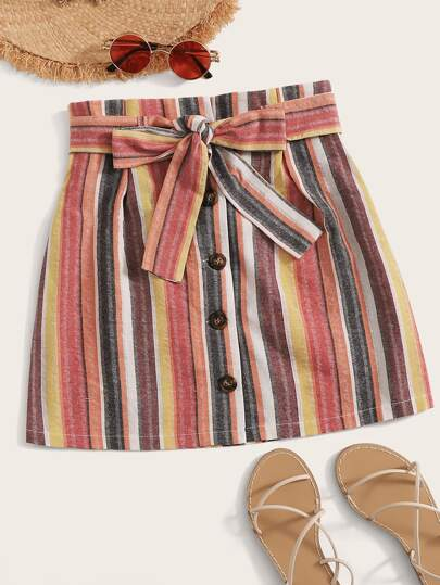 8cac7240a4 Striped Button Front Belted Skirt