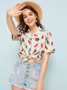 Watermelon & Pineapple Print Notched Blouse