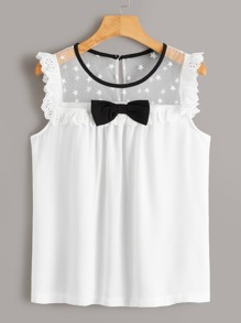 Bow Front Contrast Eyelet Embroidery Yoke Blouse