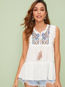 Floral Embroidery Eyelet Embroidery Sleeveless Blouse
