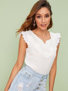 Contrast Eyelet Embroidery Cuff Notch Neck Blouse