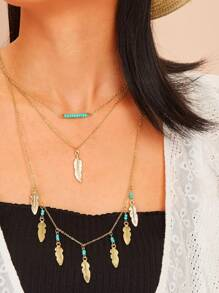 Leaf Pendant Multi Layered Necklace 1pc