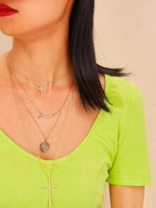 Cross & Textured Disc Pendant Layered Necklace 1pc