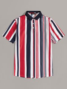 Men Colorful Striped Polo Shirt