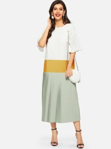 Bell Sleeve Colorblock Pleated Dress