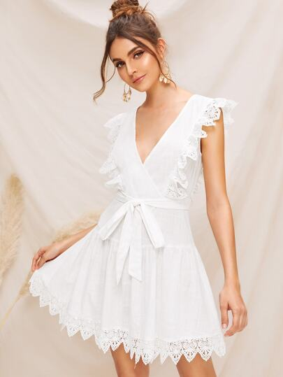 Tie Back Guipure Lace Trim Wrap Belted Dress