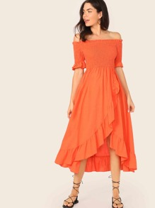 Neon Orange Asymmetrical Ruffle Hem Shirred Bardot Dress