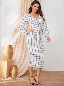 Wrap Front Lantern Sleeve Split Hem Grid Pencil Dress