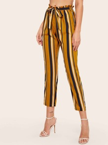 Paperbag Waist Striped Belted Crop Pants