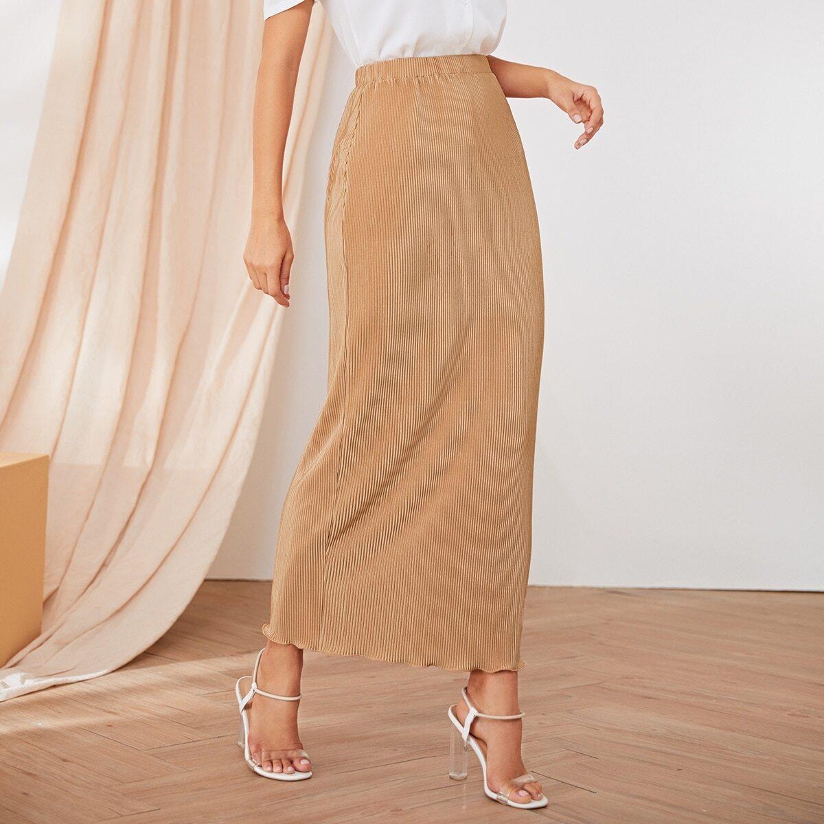 Вязаная ребристая юбка с оригинальной отделкой