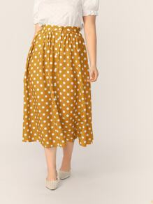 Plus Single Breasted Polka Dot Swing Skirt