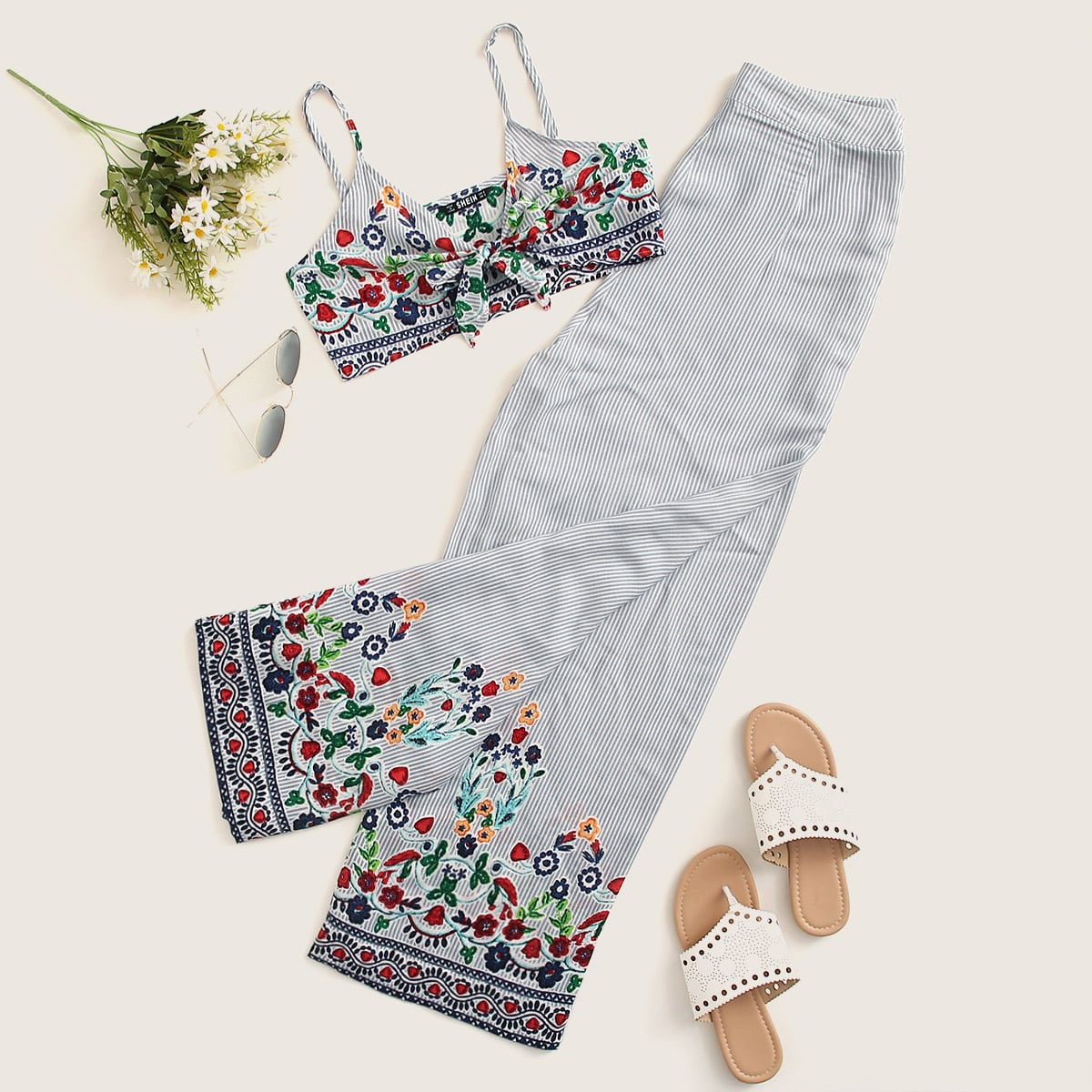 Tie Front Floral and Striped Cami Top and Pants Set