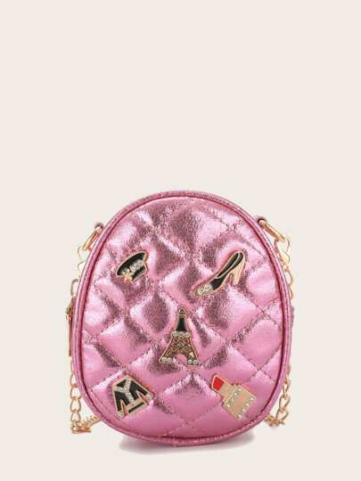 Girls Quilted Detail Chain Crossbody Bag
