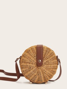 Round Shaped Woven Detail Crossbody Bag