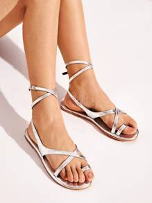 Metallic Toe Ring Flat Sandals