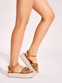 Stitch Detail Cross Strap Espadrille Sandals