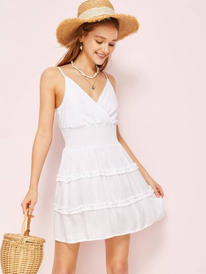 ec56109d753 Frill Trim Shirred Surplice Slip Dress