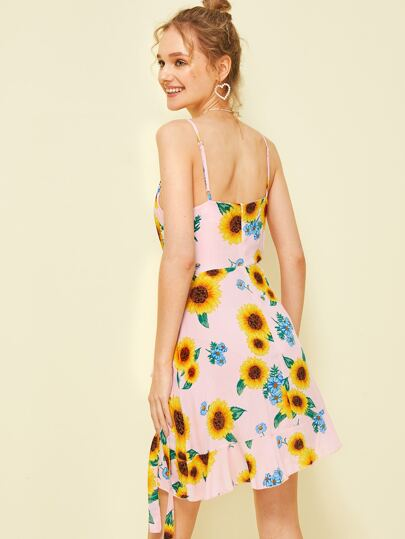 fd98b930f4ab Home · Clothing · Dresses; Sunflower Print Ruffle Hem Belted Slip Dress