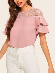 Lace Panel Layer Ruffle Cuff Blouse