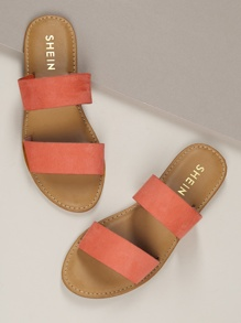 Twin Bands Open Toe Flat Slide Sandals