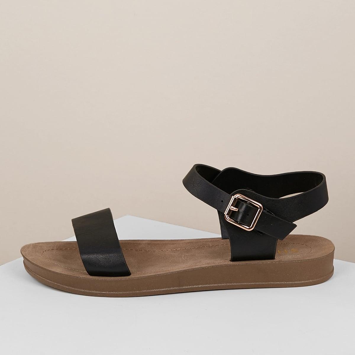Однотонные сандалии с пряжкой