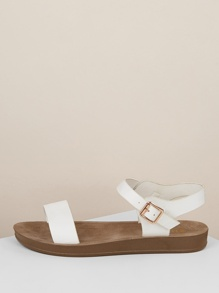 Solid Band Ankle Strap Flatform Sandals