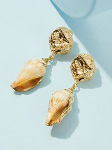 Textured Detail Shell Drop Earrings 1pair