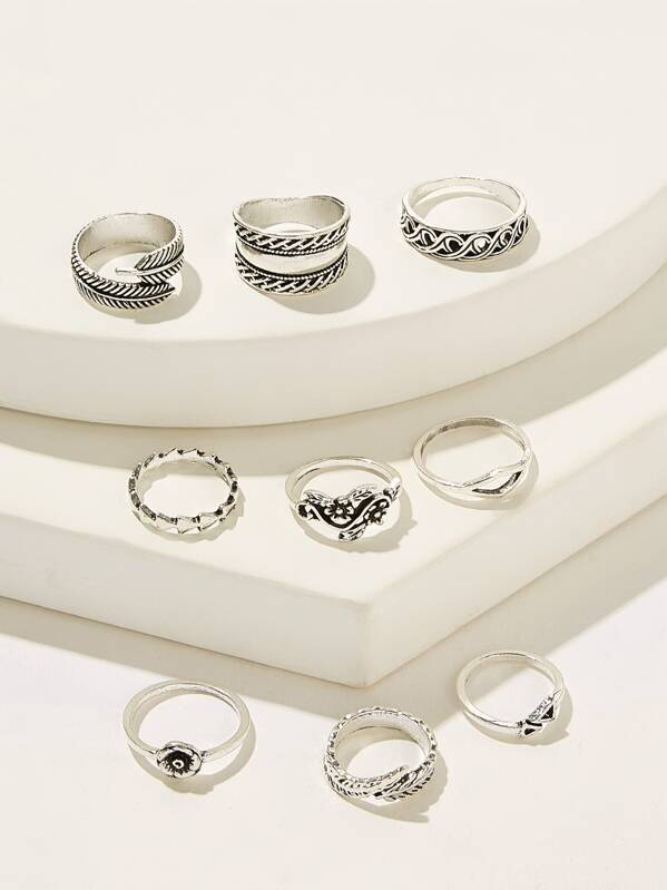 41f8bca17b Textured Shaped Ring 9pcs | SHEIN