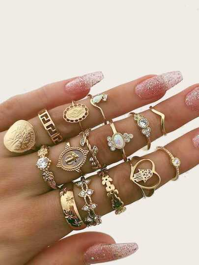 Rhinestone & Gemstone Decor Ring Set 15pcs