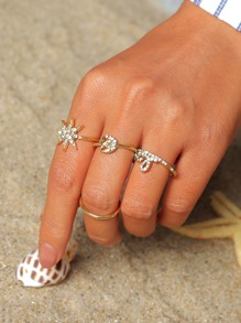 Rhinestone Decor Ring Set 4pcs