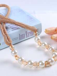 Faux Pearl Beaded Curtain Tie Back 2pcs