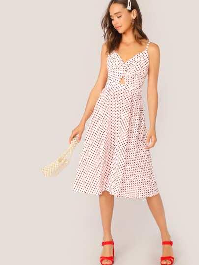 3b888119bf6 Polka-dot Print Tie Back Twist Peekaboo Slip Dress