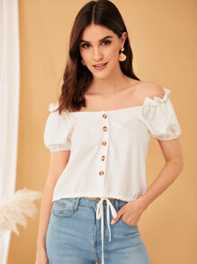 Bishop Sleeve Off Shoulder Blouse