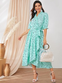 Polka Dot Ruffle Hem Wrap Dress
