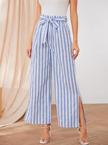 Striped Split Side Wide Leg Pants