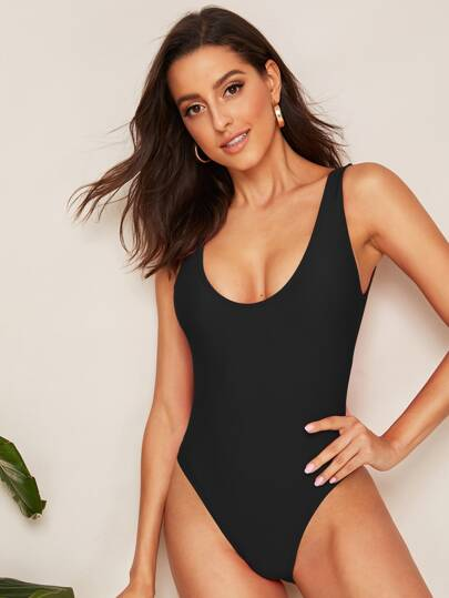 Low Back Solid One Piece Swimsuit