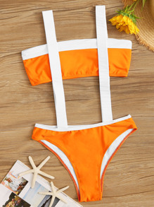 Colorblock Bandeau Top With Suspender Two Piece Swim