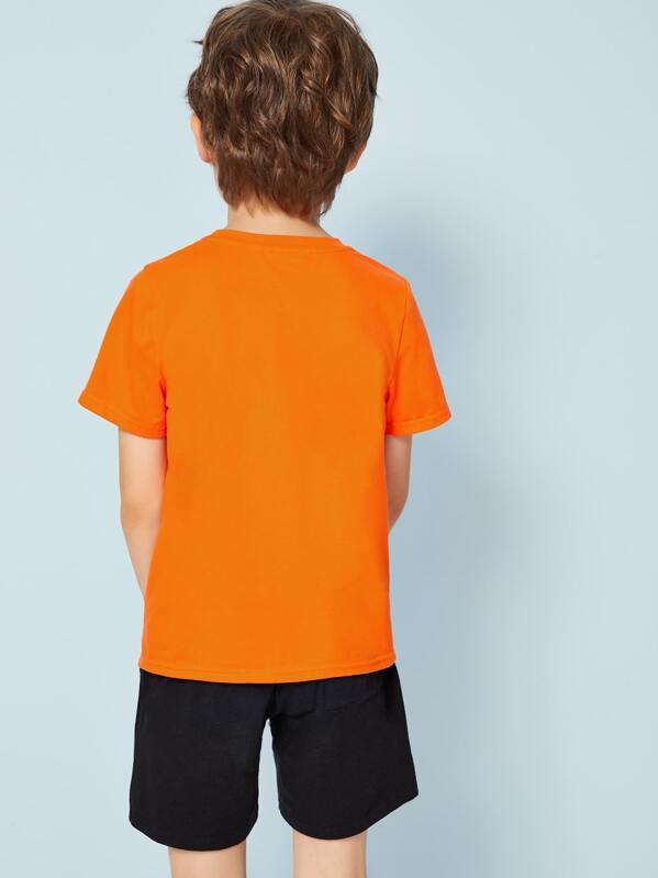 84905a18d Camiseta con estampado de letra de niños naranja neón