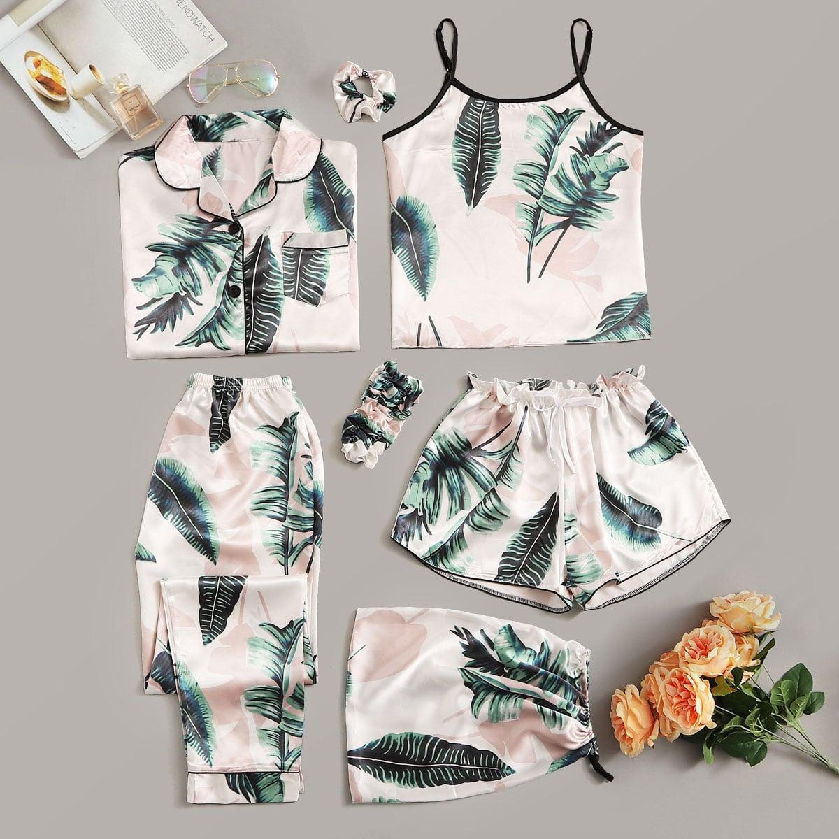 Комплект Атласная пижама с тропическим принтом 7 предметов.