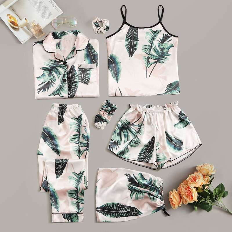 7pcs Tropical Print Satin Pajama Set, Multicolor