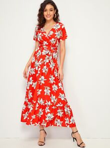 Large Floral Print Ruffle Hem Belted Surplice Dress