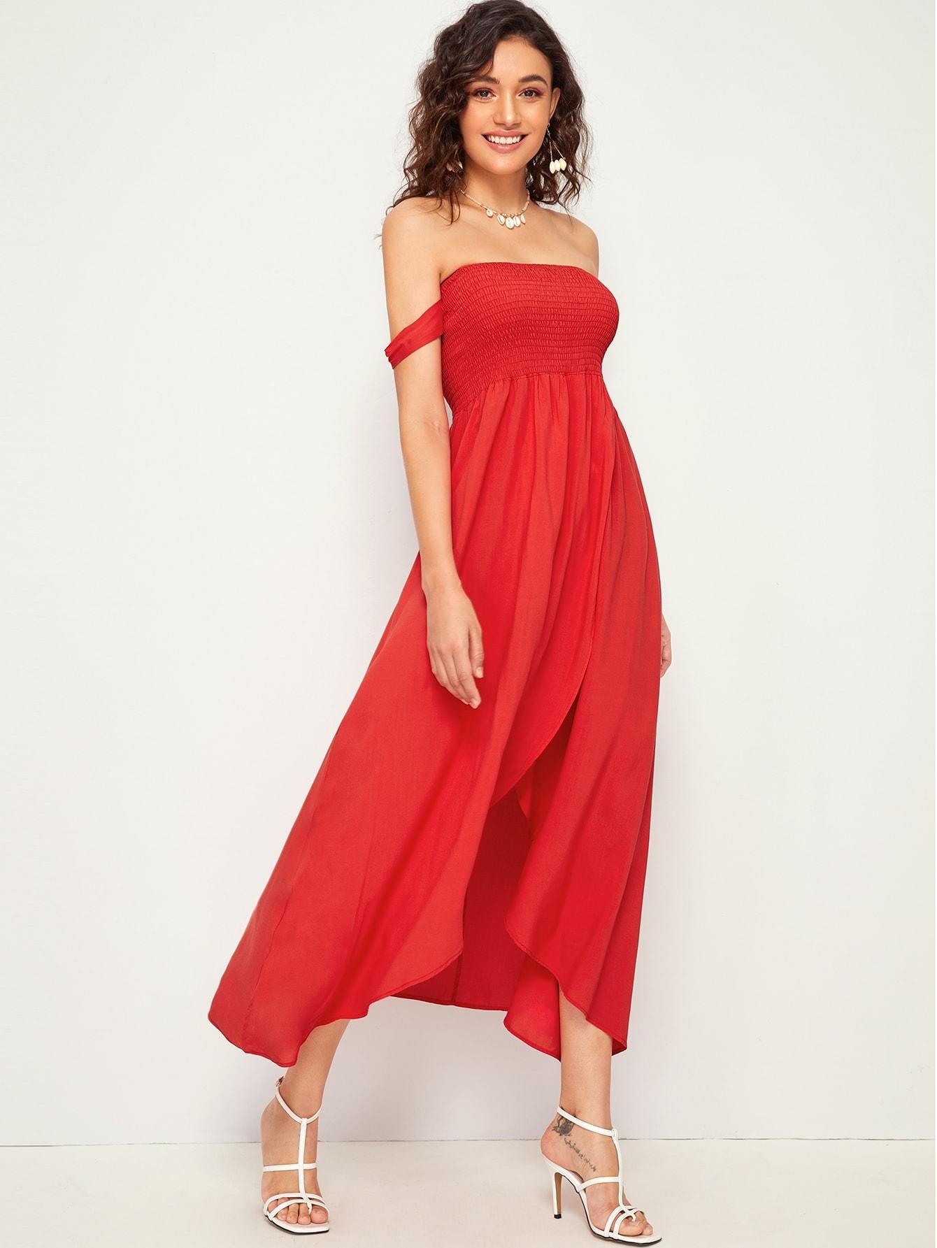 d9fdc4c0ac6a7 Off The Shoulder Tulip Hem Shirred Dress