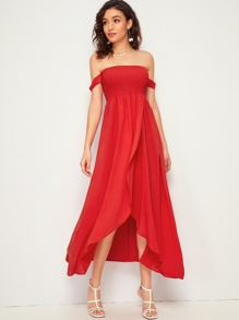 Off The Shoulder Tulip Hem  Shirred Dress
