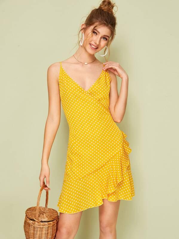 990849974f Polka Dot Ruffle Hem Wrap Slip Dress