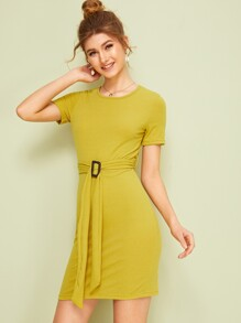 Square Ring Belted Rib Knit Sheath Dress