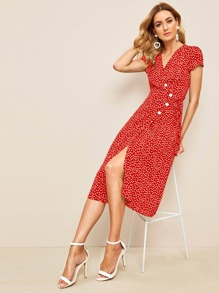Ditsy Floral Print Button Front Wrap Dress