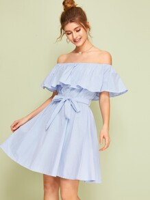 Off The Shoulder Ruffle Trim Belted Striped Dress